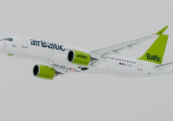 airBaltic CS300 Aircraft Arrives to Riga