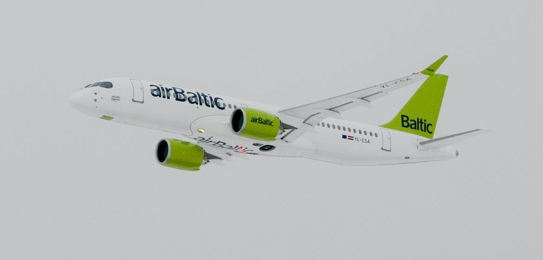 airBaltic CS300 Aircraft Arrives to Riga